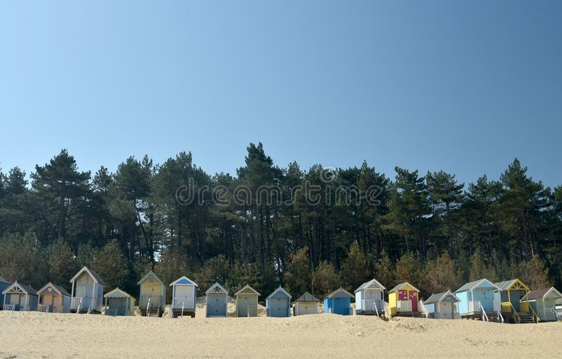 Huts on beach at Holkham Sands, Norfolk royalty free stock photography