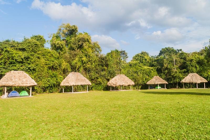 Huts in the camping place near Tikal ruins, Guatema royalty free stock images