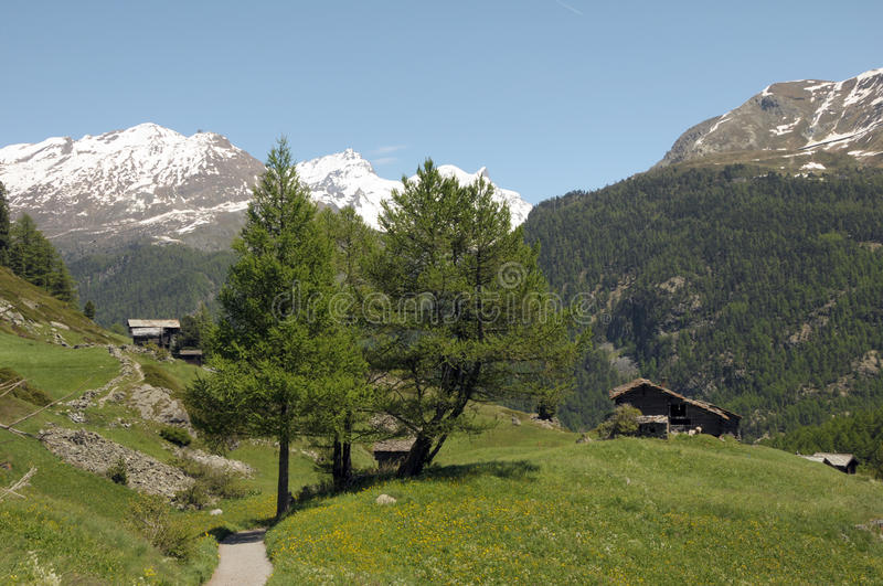 Huts and chalets in the village of Zmutt. In the Swiss Alps royalty free stock image