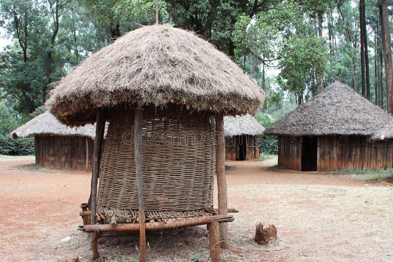 Huts in traditional Kenyan village royalty free stock photo