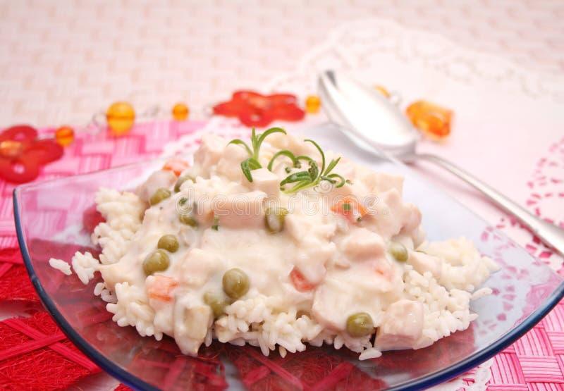 Hutspot van kip met rijst royalty-vrije stock afbeeldingen