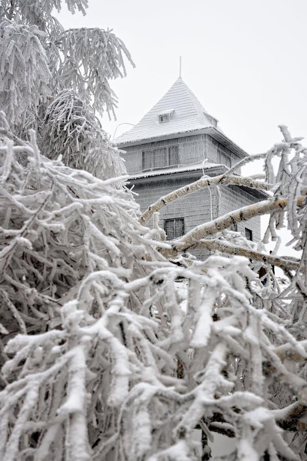 Hutte d'observation sur la colline en hiver Sitno photos libres de droits
