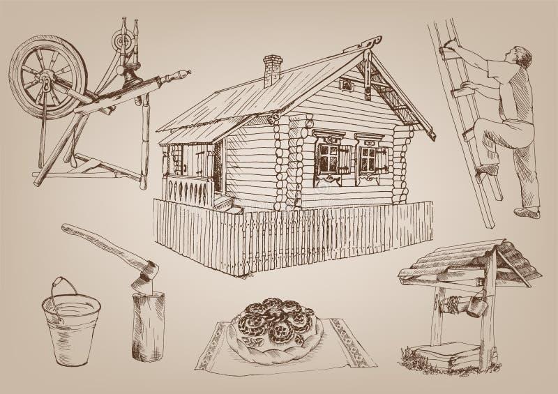 Hutte en bois illustration libre de droits