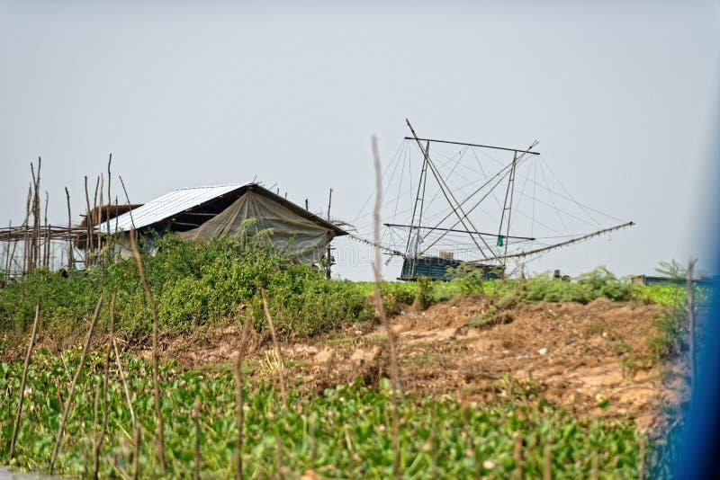 Hutte en bois, sève de Tonle, Cambodge photos libres de droits