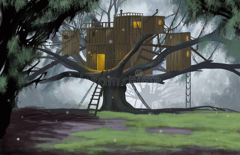 Hutte sur l'arbre illustration de vecteur