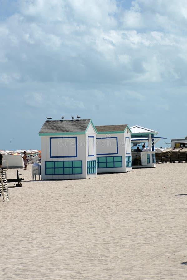 Hutten op Zuidenstrand in Miami royalty-vrije stock afbeeldingen