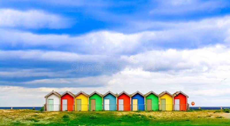 Huttes britanniques traditionnelles de plage photos libres de droits