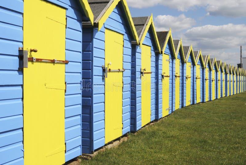 Huttes de plage chez Bognor REGIS. LE R-U image stock