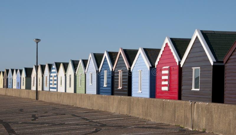 Huttes de plage chez Southwold, Suffolk, R-U. photographie stock libre de droits