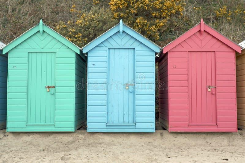 Huttes de plage, Pays de Galles photographie stock libre de droits