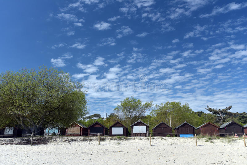 Huttes de plage sur la baie de Studland photo libre de droits