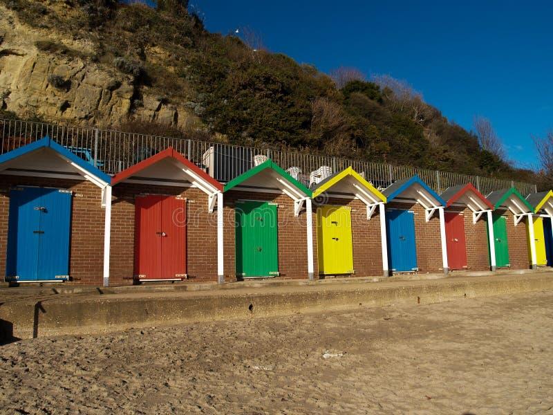 Huttes de plage de Swansea images libres de droits