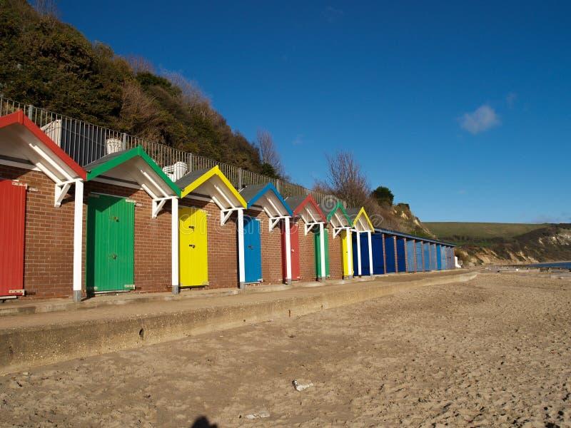Huttes de plage de Swansea images stock