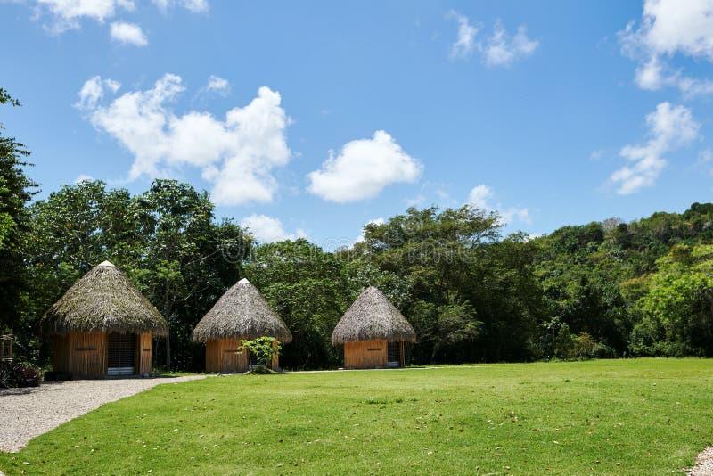 Huttes tropicales sur une île avec les toits coniques de chaume, tissés hors des frondes de palmier de noix de coco Lumière du jo images stock
