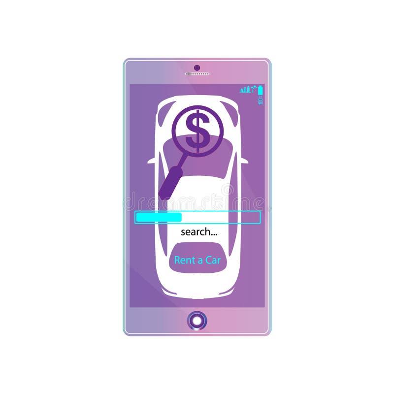 Huur een auto mobiele app illustratie Het teken van onderzoeksgeolocation, met auto op het schermsmartphone De online huurdienst  vector illustratie