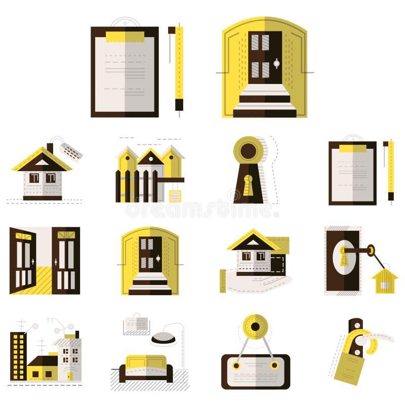 Huur van pictogrammen van de bezits de vlakke kleur royalty-vrije illustratie