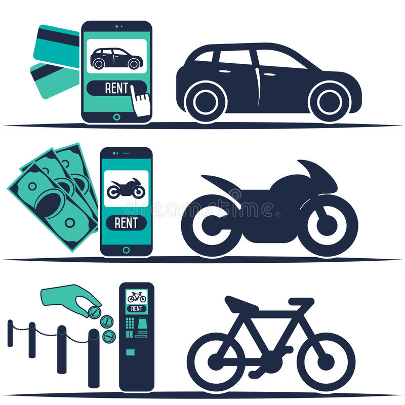 Huurauto en andere vervoerbanners stock illustratie
