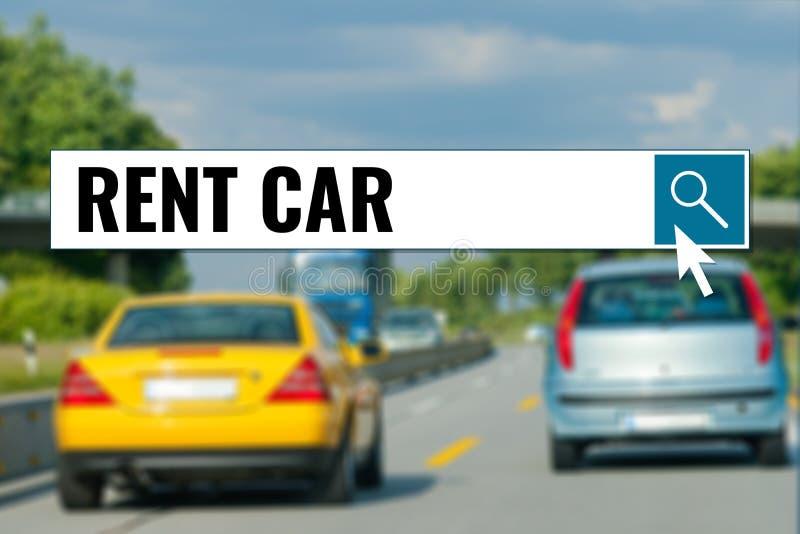 Huurauto, tekst in onderzoeksvakje over auto's royalty-vrije stock afbeelding