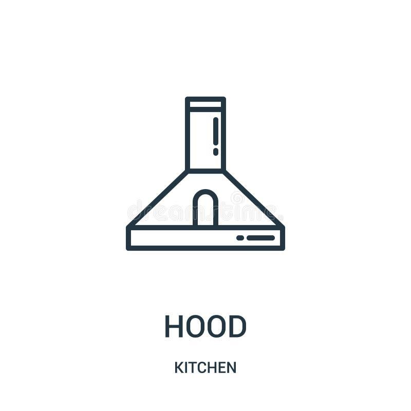 huvsymbolsvektor från köksamling Tunn linje illustration för vektor för huvöversiktssymbol r stock illustrationer