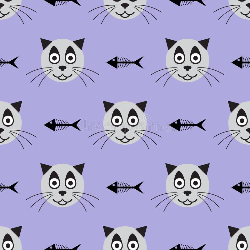 Huvud av att le katten och skelett av fisken seamless rolig modell ocks? vektor f?r coreldrawillustration vektor illustrationer