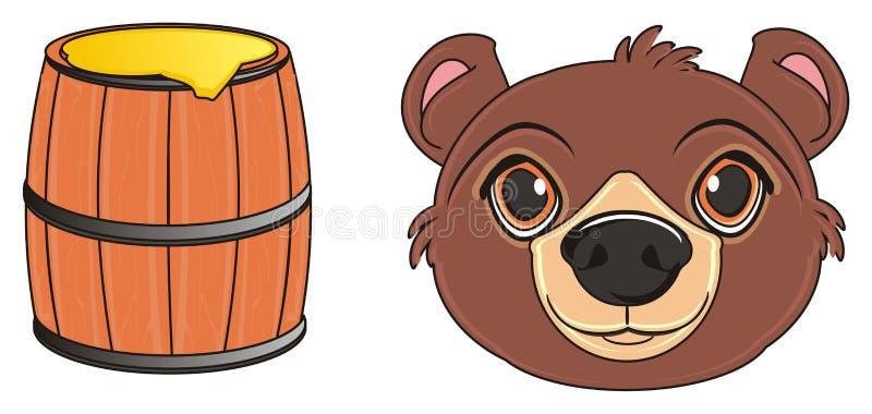 Huvud av björnen med mat royaltyfri illustrationer