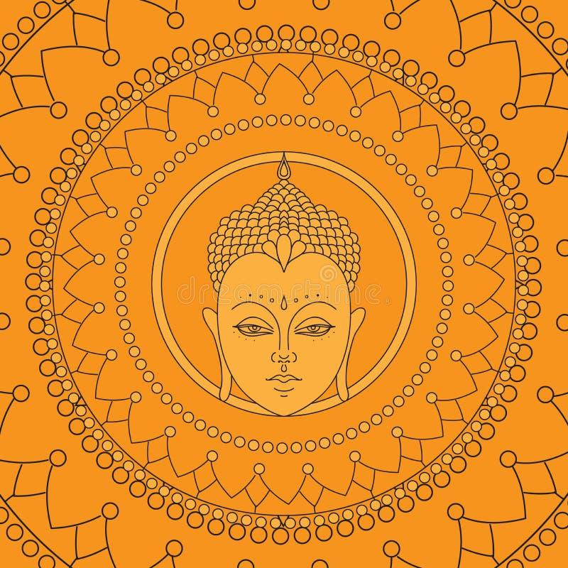 Huvud av Buddha i mandala Isolerade symboler av Mudra Härligt detaljerat, fridfullt dekorativ elementtappning Indier hinduiska mo stock illustrationer