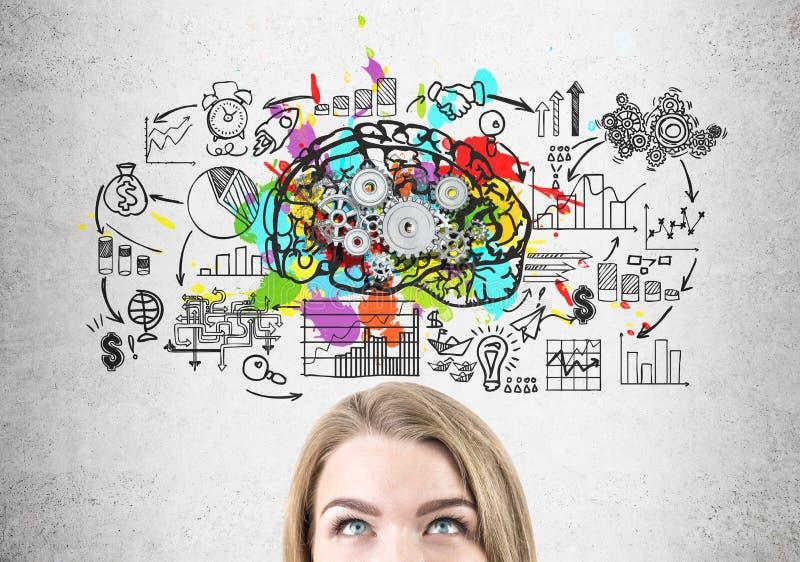 Huvud av den blonda kvinnan, hjärna med kugghjul arkivbild