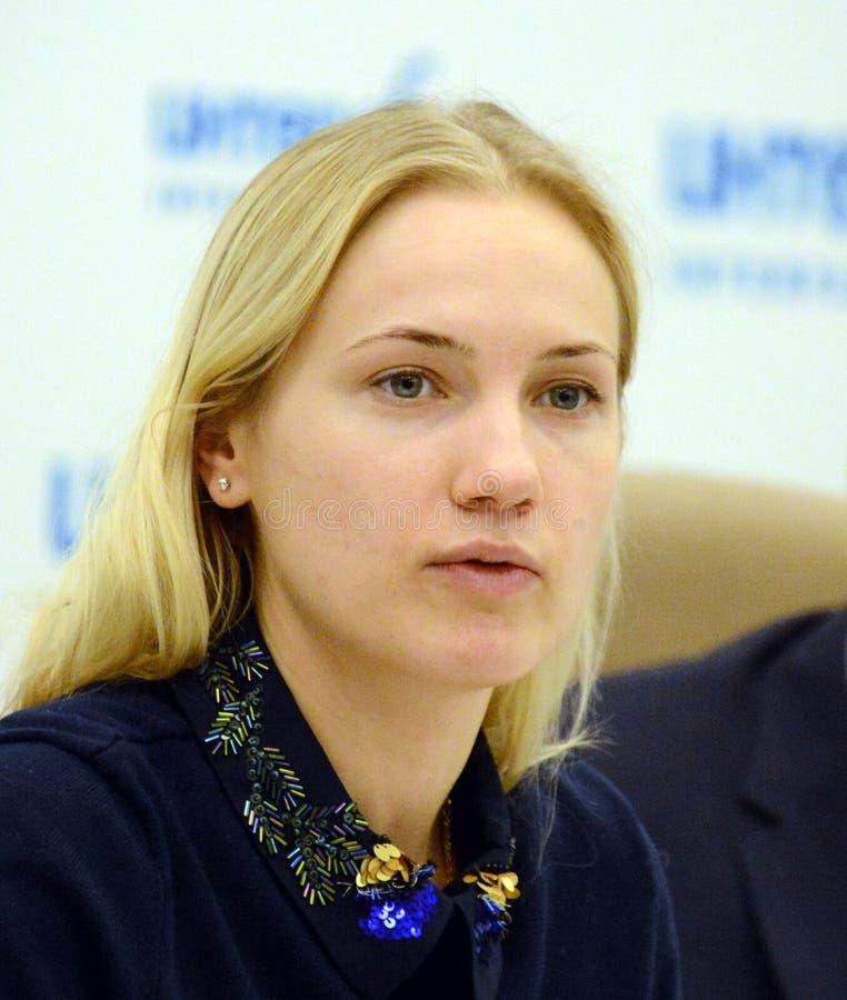 Huvud av den huvudsakliga avdelningen av sociala kommunikationer av Moskvaregionen Irina Pleshcheva arkivfoto