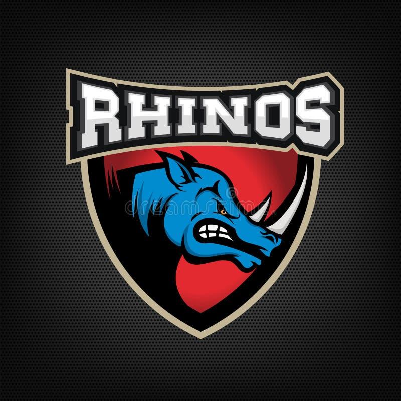 Huvud av den ilskna noshörningen Mall för emblem för sportlag eller klubba stock illustrationer