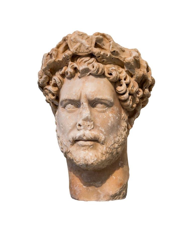Huvud av den romerska kejsaren Hadrian (ANNONS för regeringstid 117-138) som isoleras royaltyfria bilder