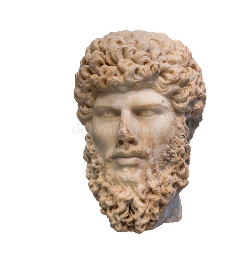 Huvud av den romerska kejsaren Lucius Verus (ANNONS för regeringstid 161-169) som isoleras royaltyfri fotografi