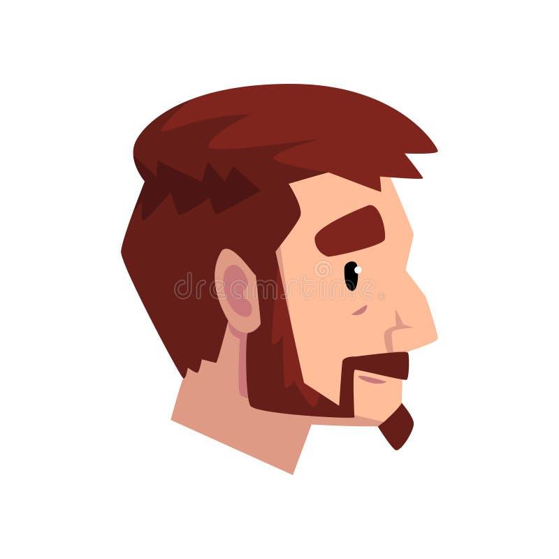 Huvud av den unga skäggiga mannen med brunt hår, profil av grabben med illustrationen för modefrisyrvektor på en vit bakgrund stock illustrationer