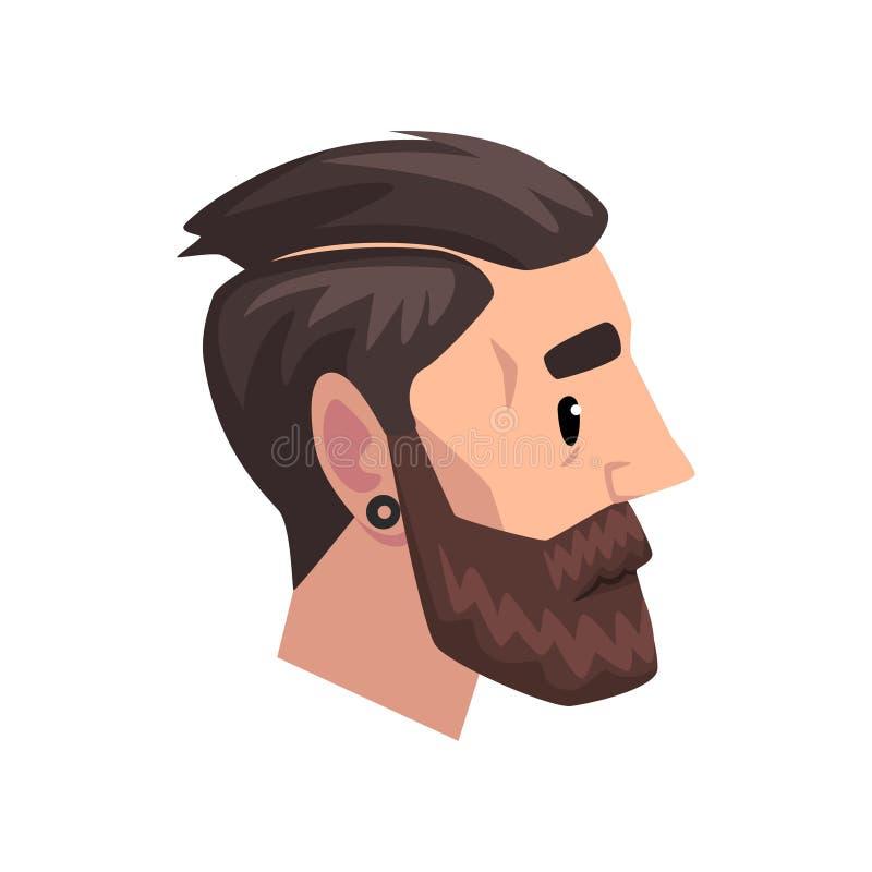 Huvud av den unga skäggiga mannen med modern frisyr, profil av grabben med illustrationen för modefrisyrvektor på ett vitt royaltyfri illustrationer