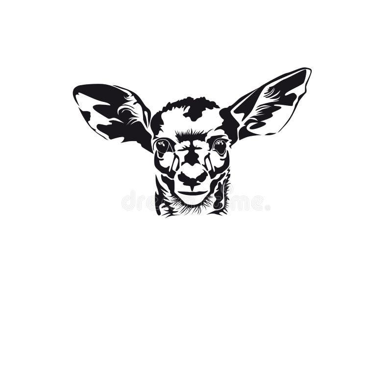 Huvud av en hjort Svartvit vektorbild royaltyfri illustrationer