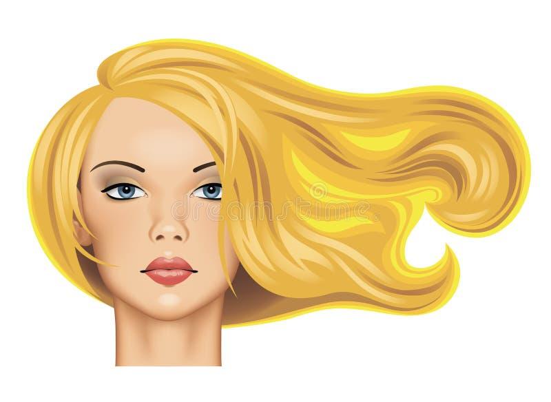 Huvud av en nätt blond flicka med långt fladdrahår i sunlig royaltyfri illustrationer
