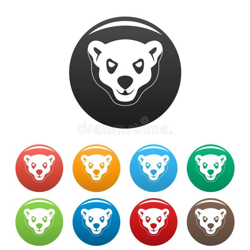 Huvud av fastställd färg för rasande isbjörnsymboler stock illustrationer