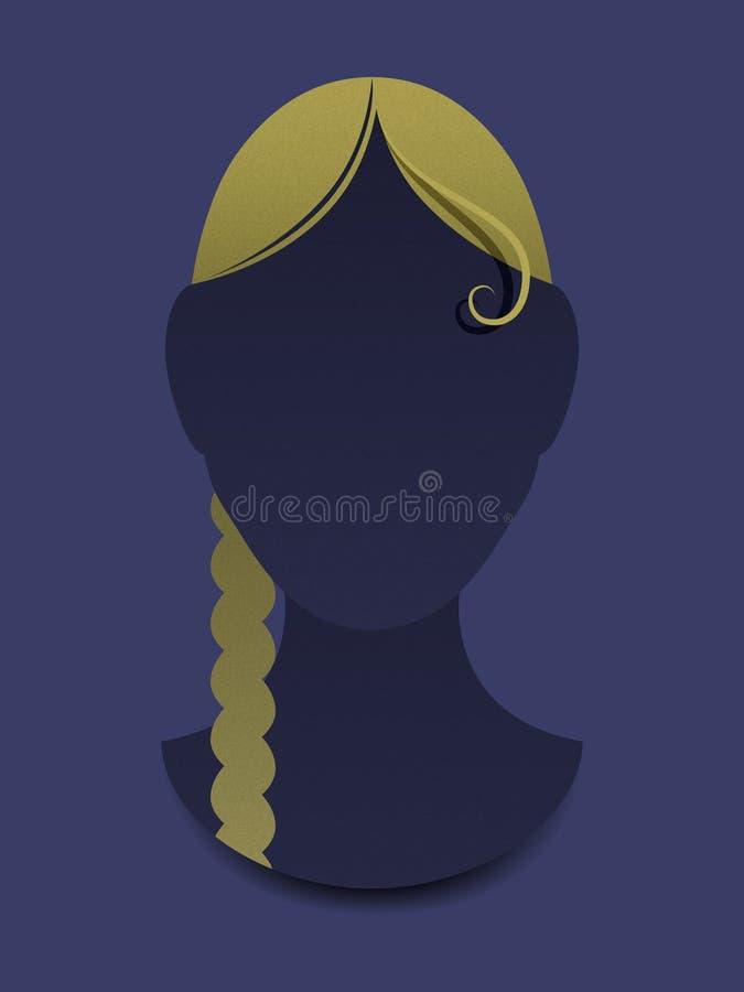 Huvud av flickan med hår vektor illustrationer