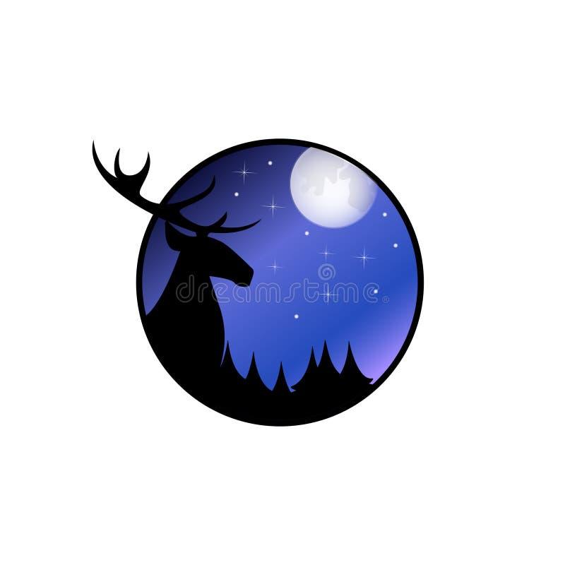 Huvud av hjortar som ser fullmånen vektor illustrationer