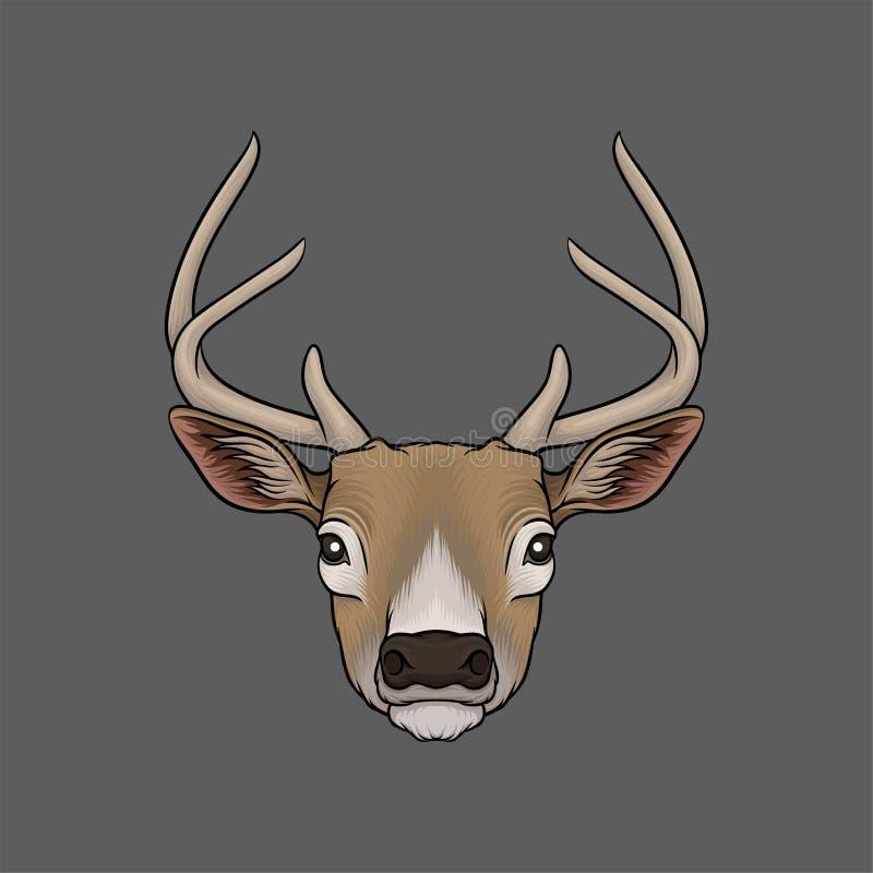 Huvud av hjortar, stående av drog vektorillustrationen för löst djur den hand vektor illustrationer