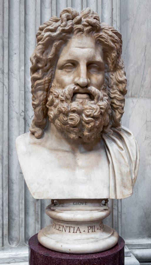 Huvud av Jupiter från Otricoli royaltyfria foton