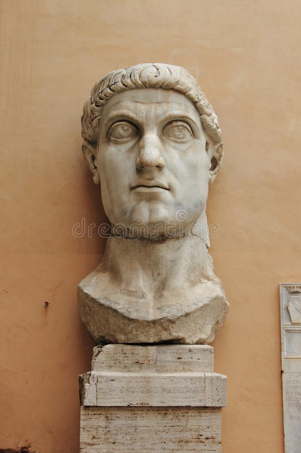 Huvud av kolossen av Constantine royaltyfri bild