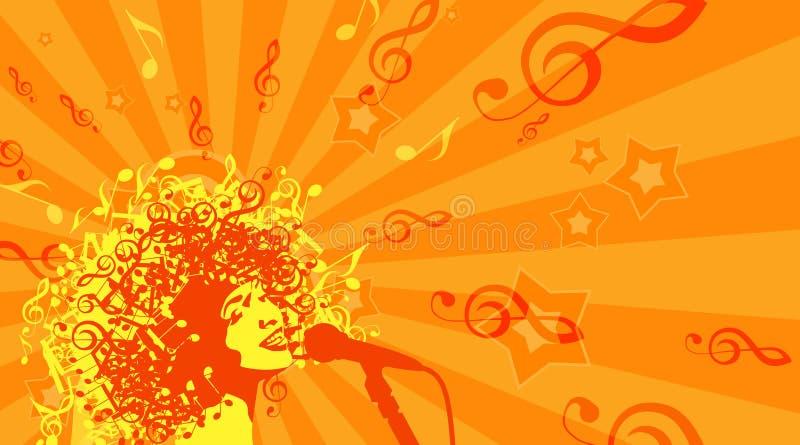Huvud av kvinnan med hår som musikaliska symboler på a vektor illustrationer