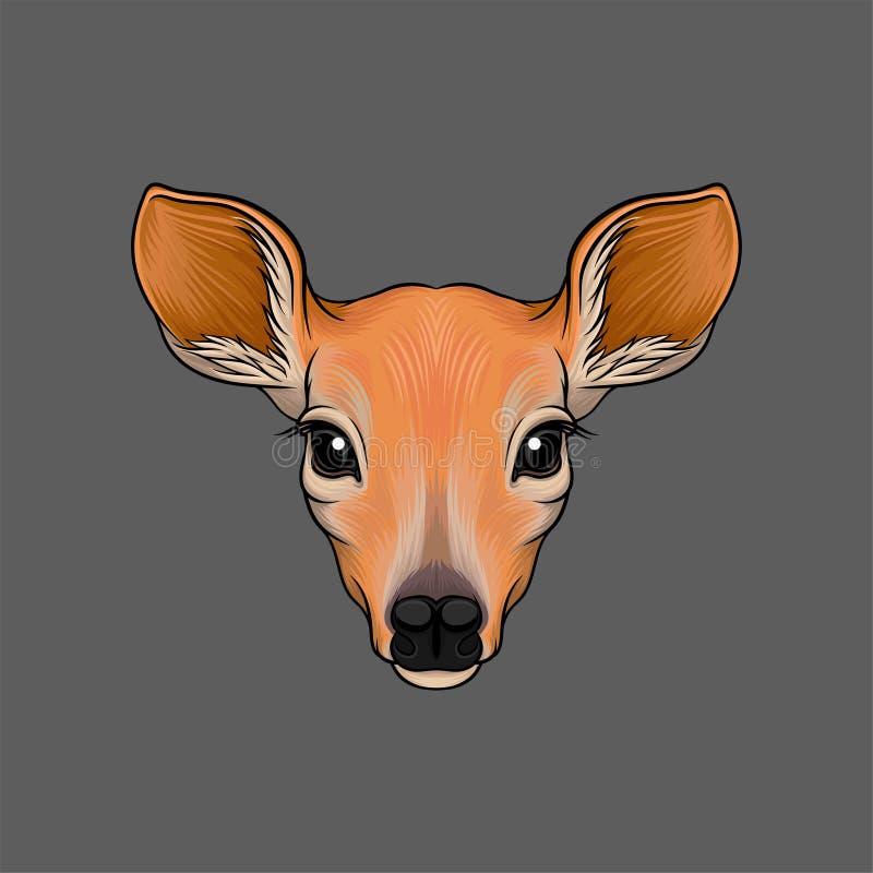 Huvud av rådjur, stående av drog vektorillustrationen för löst djur den hand vektor illustrationer