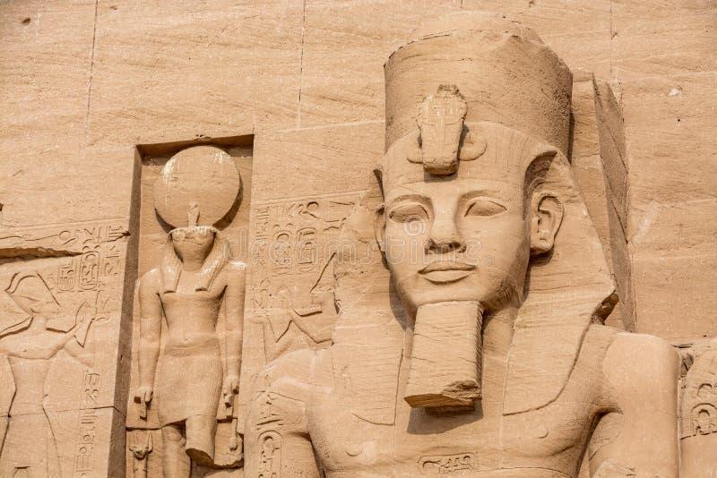 Huvud av statyn av Ramesses det stort, Abu Simbel tempel, Egypten arkivfoto