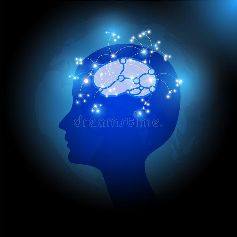 Huvud Brain Vector Illustration för jordklot för dag för världshälsa mänskligt stock illustrationer