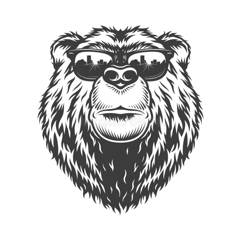 Huvud för björn för monokrom innegrej för tappning allvarligt vektor illustrationer