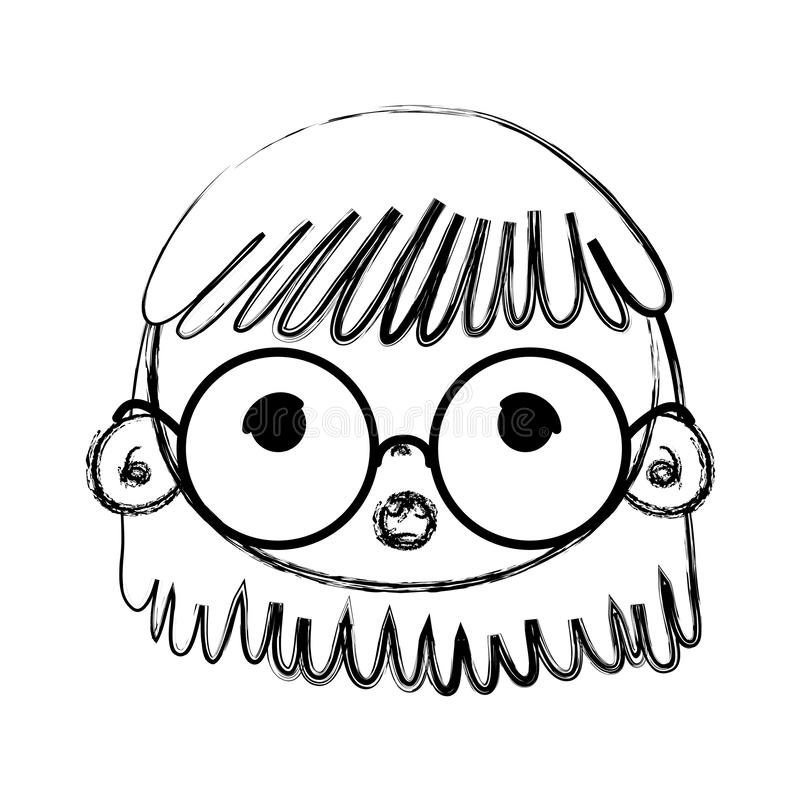 Huvud för Grungeskönhetflicka med exponeringsglas och frisyren royaltyfri illustrationer