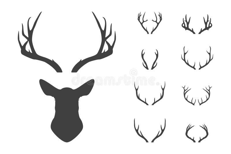 Huvud för hjortar s och horn på kronhjortuppsättning royaltyfri illustrationer