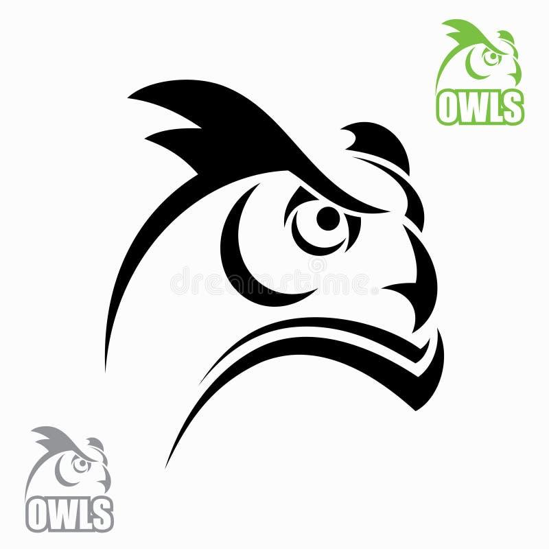 Huvud för Horned owl vektor illustrationer