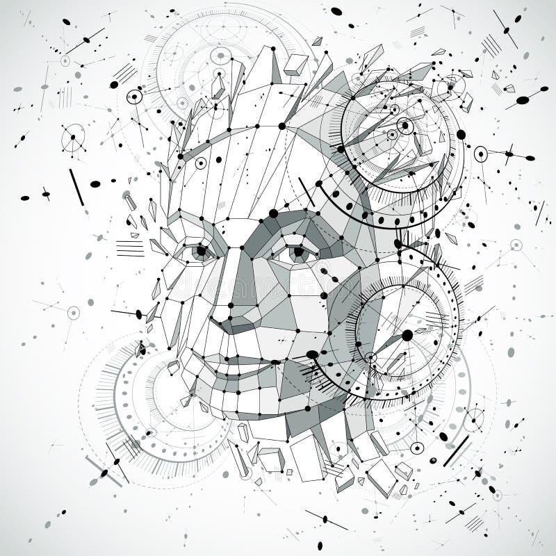 Huvud för konstgjord intelligens, låg poly vektorwireframe för stil 3d stock illustrationer